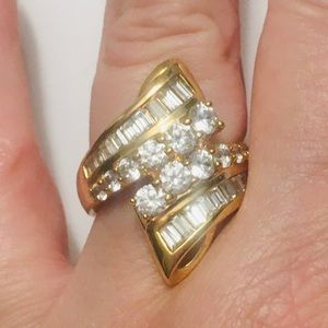 Stunning Gold Bypass Ring Size 7 Round Channel CZ